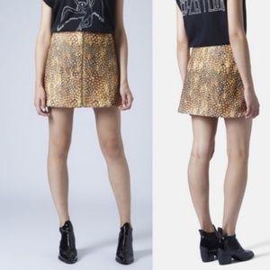 Topshop Deer Bambi Zip Felt Spoted Mini Skirt